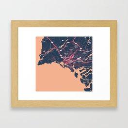 Minimalist Modern Map of Karachi, Pakistan 9 Framed Art Print