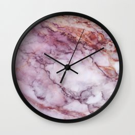 Pink And White Marble Wall Clock