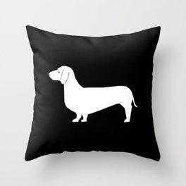 Dachshund silhouette minimal black and white dog lover home decor gifts accessories silhouette Throw Pillow