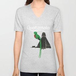 Guatemala Antigua Quetzal Chapin Guate Tikal Maya Puchica Gift Retro Unisex V-Neck