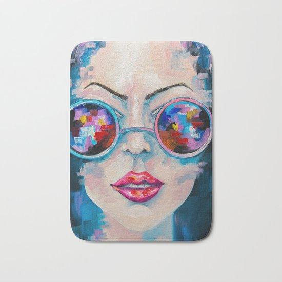 Girl in sunglasses Bath Mat
