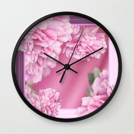 Pink Peonies In Frame #decor #society6 #buyart Wall Clock