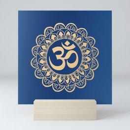 Blue and Gold Ohm Mandala Mini Art Print