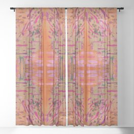 Strengthening Orange Geometric Pattern Watercolor Tapestry Sheer Curtain