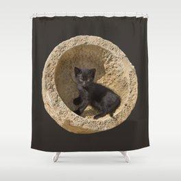 Black kitten in a stone bowl Shower Curtain