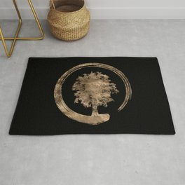 Enso Zen Circle and Tree - Gold on black Rug
