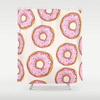 donut Shower Curtains featuring Donut by Ceren Aksu Dikenci