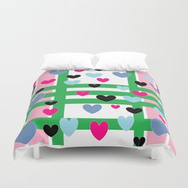 Hearts and Stripes - Pink Green Blue Duvet Cover