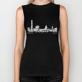 Washington graphic scribble skyline-black and white Biker Tank