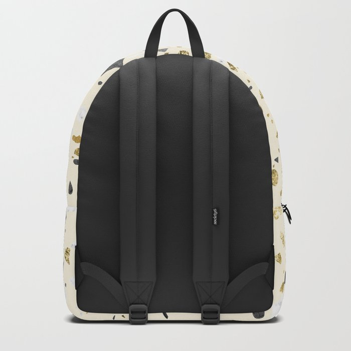 Glitter and Grit Yellow Gold Marble Backpack