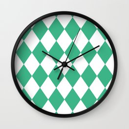 Diamonds (Mint/White) Wall Clock