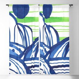 Lime and blue abstract landscape Blackout Curtain