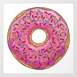 Rainbow Sprinkle Donut | Pink Frosting Art Print