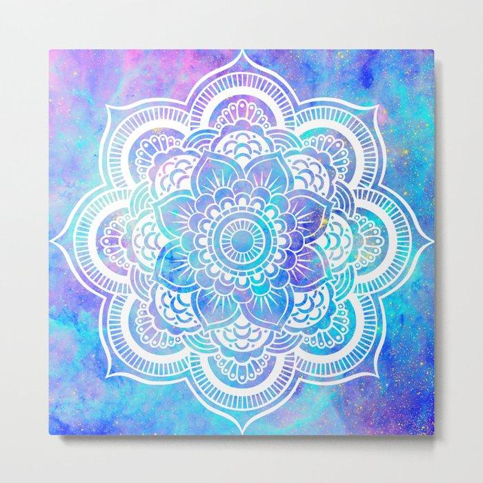 Mandala Pink Lavender Aqua Galaxy Space Metal Print