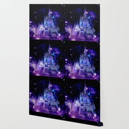 Celestial Palace : Purple Blue Enchanted Castle Wallpaper