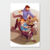 tintin Canvas Prints featuring Tintin and co. by magemg