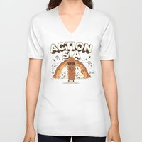 sia V-neck T-shirts featuring Action Sia by Farid L