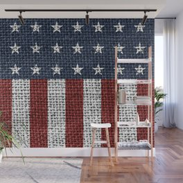 USA American Flag Rustic Jute Style 4th July Decor Wall Mural