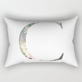 C - Floral Monogram Collection Rectangular Pillow