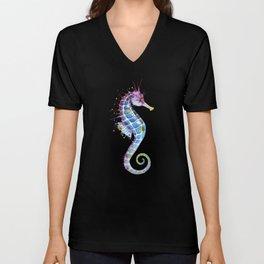 Seahorse: Purple Unisex V-Neck