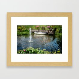 Fountain and Boat Framed Art Print