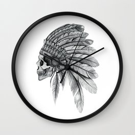 Indian Chief Skull Wall Clock