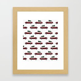 Christmas station wagon estate car holiday winter vacation vintage cars Framed Art Print