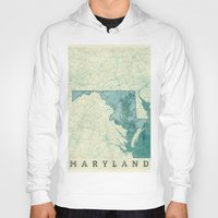 maryland Hoodies featuring Maryland State Map Blue Vintage by City Art Posters