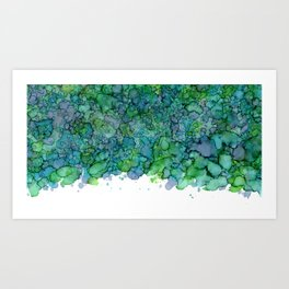 Green and Blue Are Friends - Abstract Ink Painting Art Print