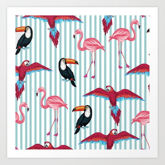 flamingo in tropic mood Art Print