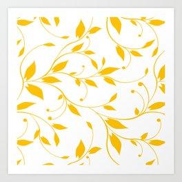 FLOWERY VINES | white yellow Art Print