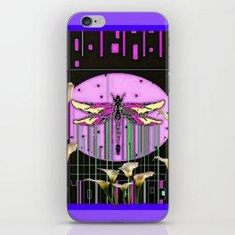 Purple Art Nouveau Calla Lilies Dragonfly Art iPhone Skin