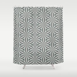 Geometrical, floral, circle, triangle pattern in neutral tints. Pop art style Shower Curtain