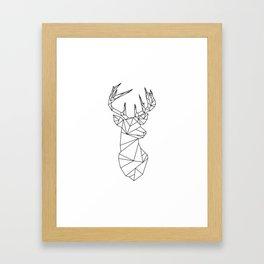 Geometric Stag (Black on White) Framed Art Print