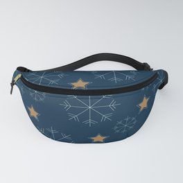 Snowflakes and stars - dark blue and beige Fanny Pack