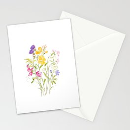 yellow pink white and  purple windflowers 2020 Stationery Cards