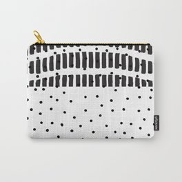 Modern black white  watercolor brushstrokes polka dots Carry-All Pouch