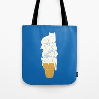 ice Tote Bags featuring Cats Ice Cream by I Love Doodle