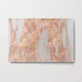 Rose Gold Marble with Yellow Gold Glitter Metal Print