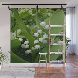 Pure White Lily of the Valley Flower Macro Photograph Wall Mural