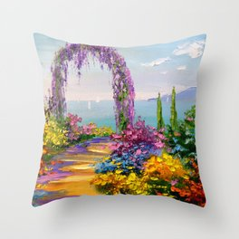 Blooming arch Throw Pillow
