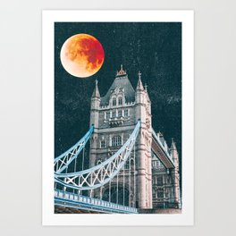 Blood Moon over London, England Tower Bridge Art Print