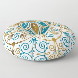 Sacred Lotus Mandala – Teal & Bronze Palette Floor Pillow