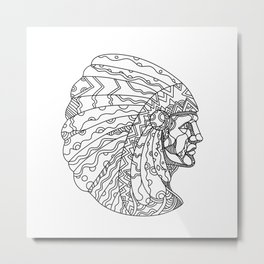 American Plains Indian with War Bonnet Doodle Metal Print