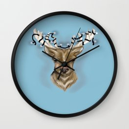 Deer head with string lights Wall Clock