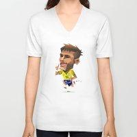 neymar V-neck T-shirts featuring Minirobguns Neymar by Robin Gundersen