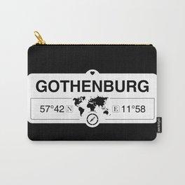 Gothenburg Västergötland with World Map GPS Coordinates Carry-All Pouch