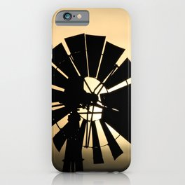 Kansas Sunset with a Windmill silhouette in Kansas. iPhone Case