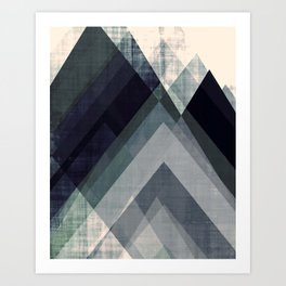 mountain art, geometric art, contemporary art print, modern art print, colorful wall art, midcentury Art Print