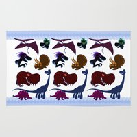 cartoons Area & Throw Rugs featuring Dinosaur Cartoons by Cartoonasaurus